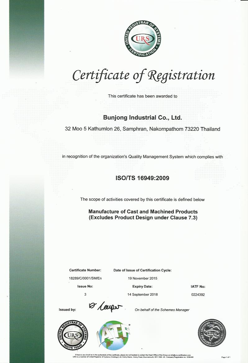 1. CERTIFICATE ISO TS 16949 2009 (2015)